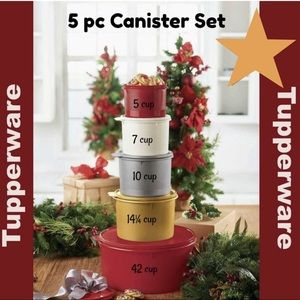 TUPPERWARE 5 piece holiday canister set